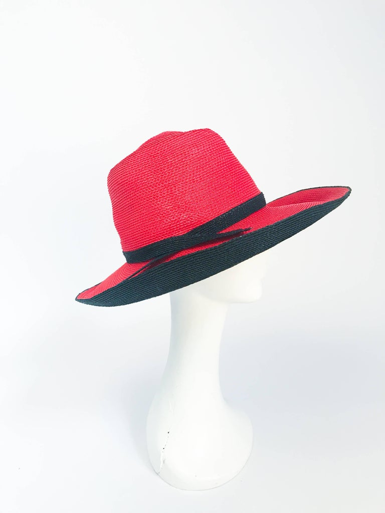Gray 1970s Frank Olive Red and Black Wide-Brimmed Hat For Sale