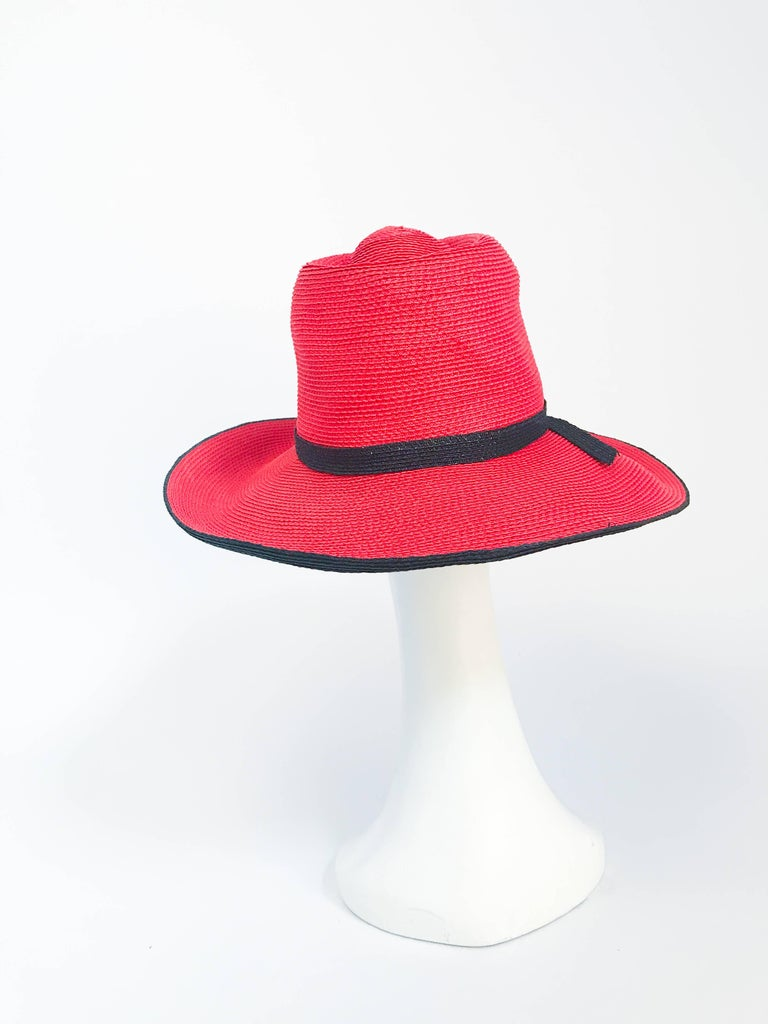 1970s Frank Olive Red and Black Wide-Brimmed Hat In Good Condition For Sale In San Francisco, CA