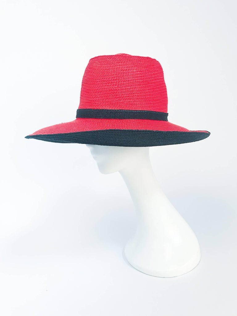 Women's or Men's 1970s Frank Olive Red and Black Wide-Brimmed Hat For Sale