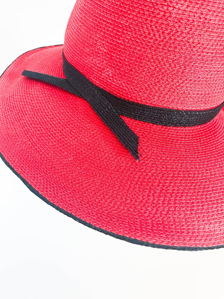 1970s Frank Olive Red and Black Wide-Brimmed Hat For Sale 1