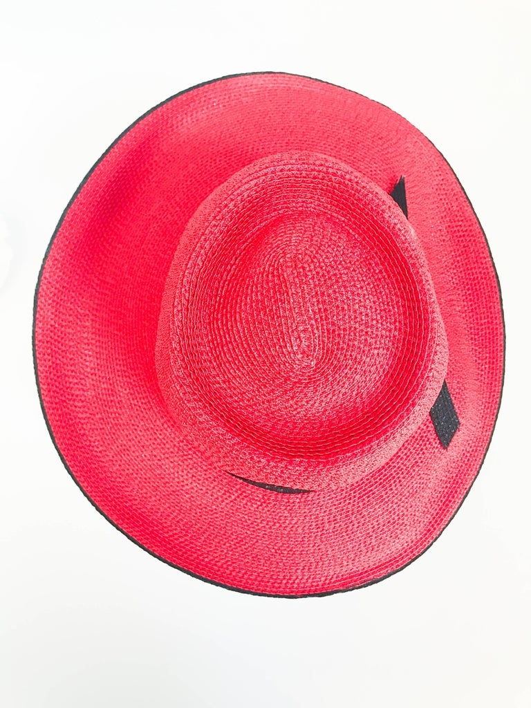 1970s Frank Olive Red and Black Wide-Brimmed Hat For Sale 2