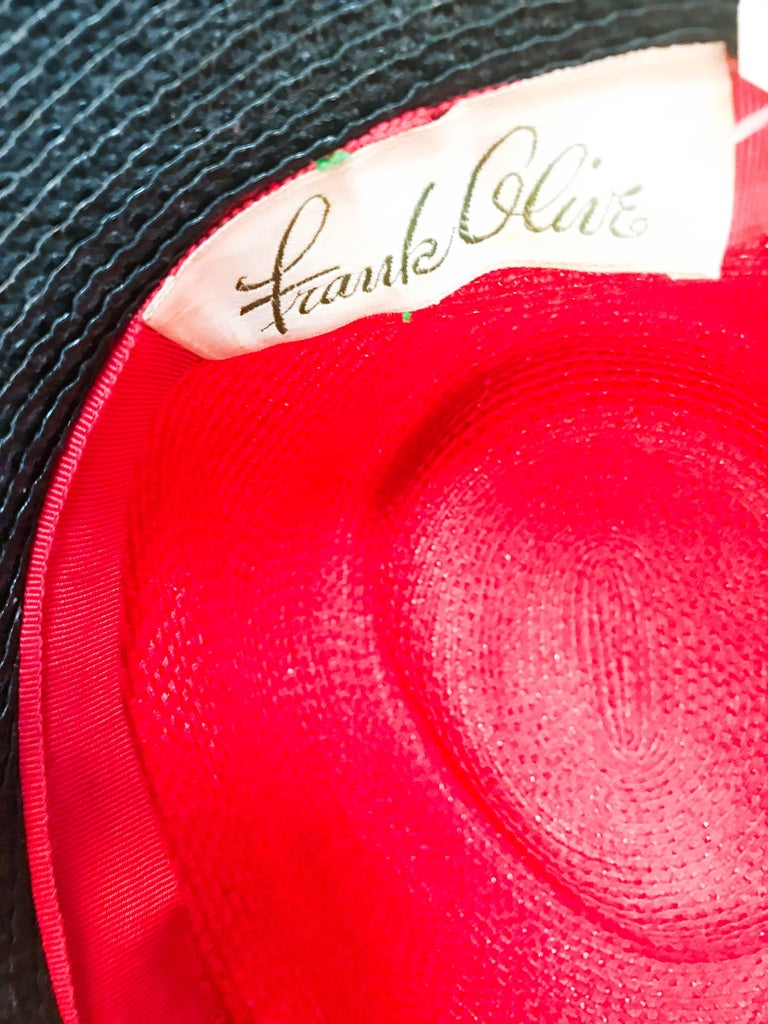 1970s Frank Olive Red and Black Wide-Brimmed Hat For Sale 4