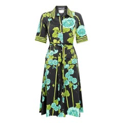 1970s Frank Usher Floral and Bamboo Print Skirt Suit