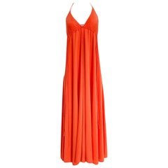 1970s Frank Usher Plunge Front Coral Jersey Backless Maxi Dress
