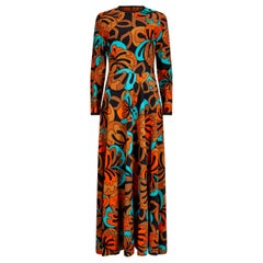 1970s Frank Usher Psychedelic Leaf Print Maxi Dress