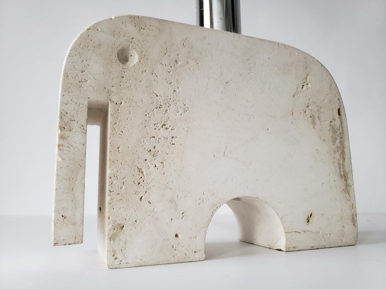 1970s Fratelli Manelli Travertine Elephant Table Lamp, Italy For Sale 8