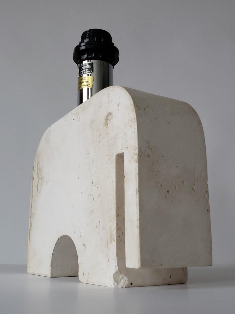 1970s Fratelli Manelli Travertine Elephant Table Lamp, Italy For Sale 3