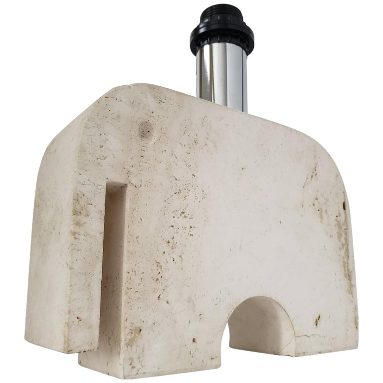 1970s Fratelli Manelli Travertine Elephant Table Lamp, Italy For Sale
