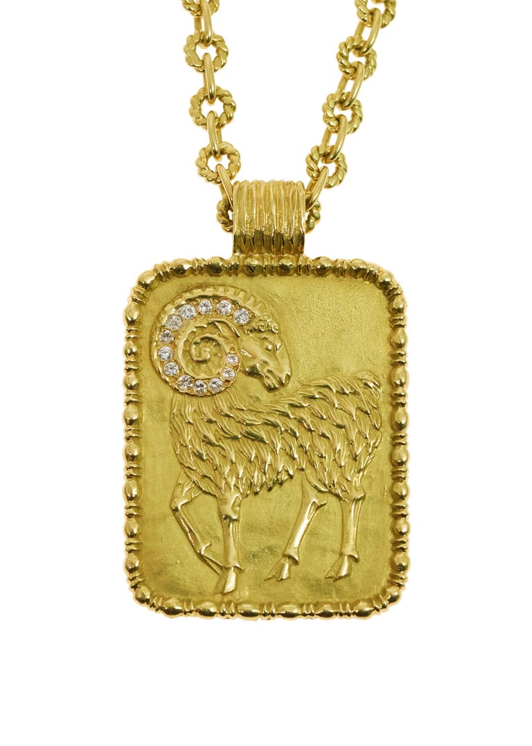 A diamond and 18 karat gold Aries zodiac pendant on an 18 karat gold chain, by Fred Paris, 1970s. Founded by Fred Samuel in the 1930s, Fred Paris provided jewels for celebrity clientele such as Grace Kelly and Marlene Dietrich during Hollywood's
