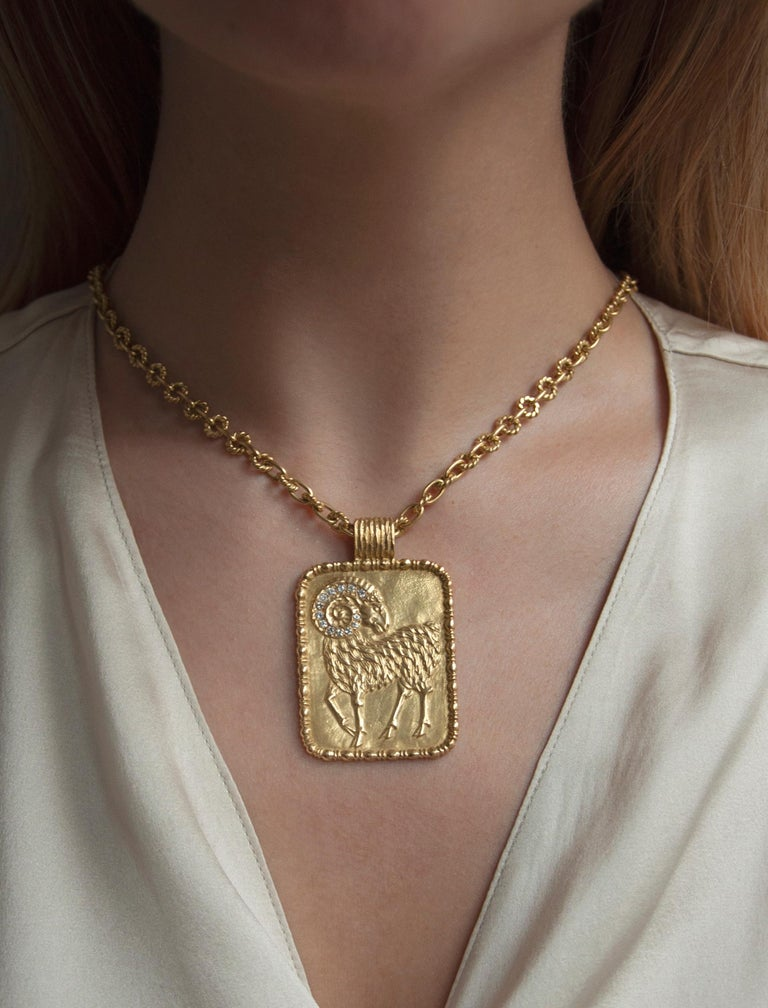 Round Cut 1970s Fred Paris Aries Zodiac Diamond and Gold Pendant on a Gold Chain For Sale