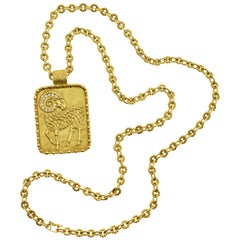 1970s Fred Paris Aries Zodiac Diamond and Gold Pendant on a Gold Chain