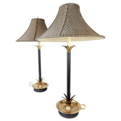 1970s Frederick Cooper Brass Pineapple Table Lamps
