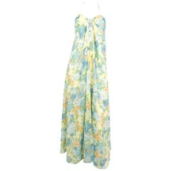 1970s Frederick's of Hollywood Halter Floral Printed Dress