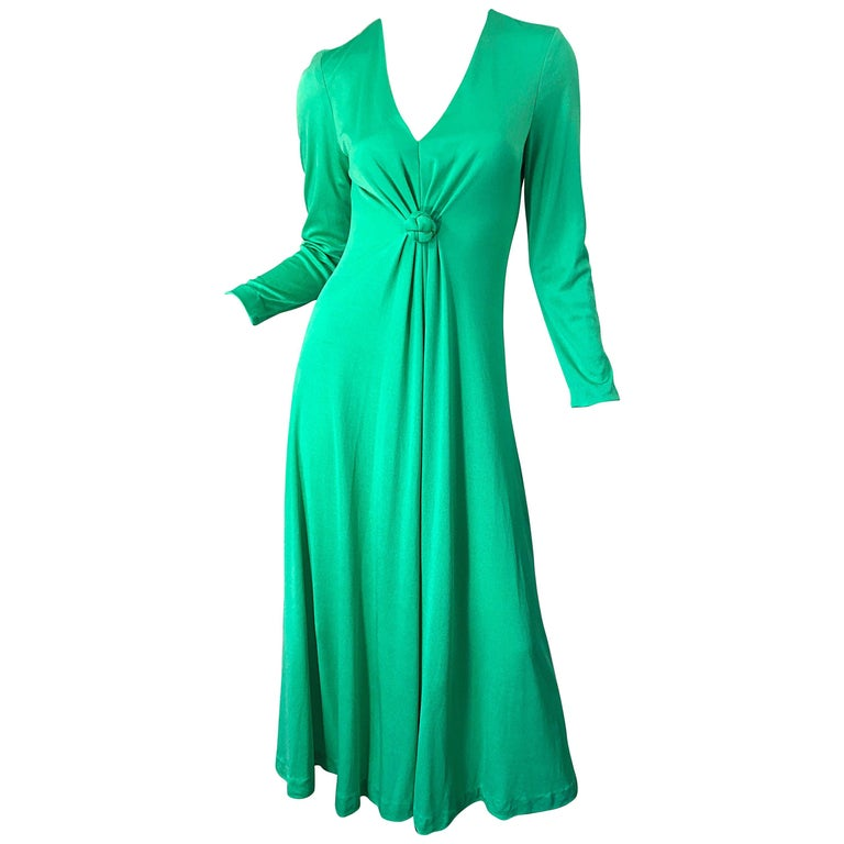 1970s Fredrick's of Hollywood Kelly Green Vintage Jersey 70s Maxi Dress For Sale