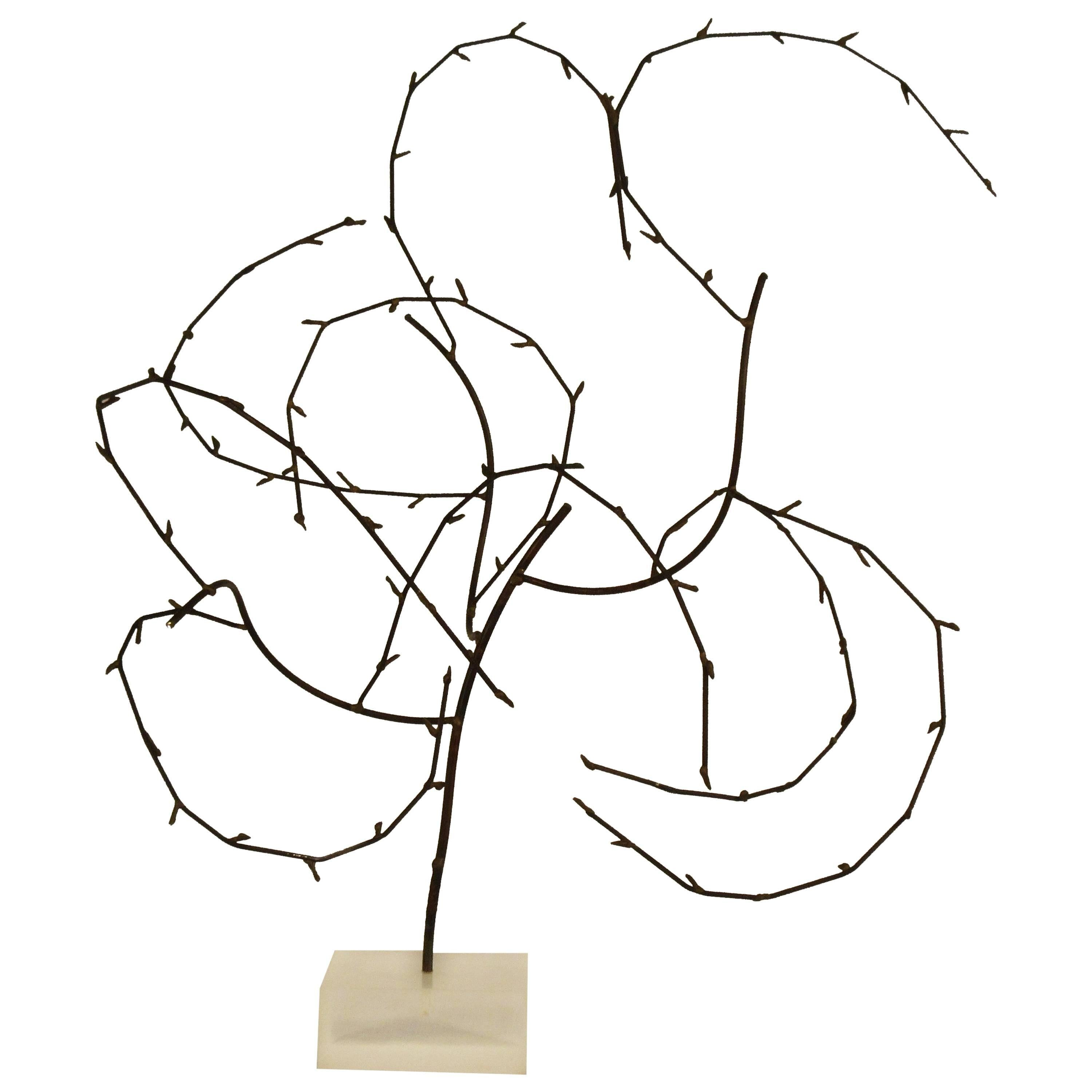 1970s Free-Form Abstract Sculpture on Lucite Base