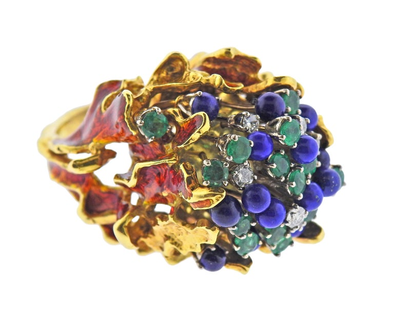1970s large free form cocktail ring, set with lapis, emeralds and approx.0.60ctw in diamonds, decorated with enamel, 18k gold. Ring size 7.25, ring top is 30mm x 32mm, sits approx. 28mm from the finger. Marked GB 18k, Italy. Weight - 58.3 grams.