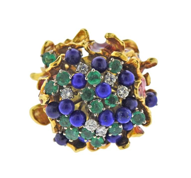 Round Cut 1970s Freeform Lapis Emerald Diamond Enamel Gold Ring For Sale