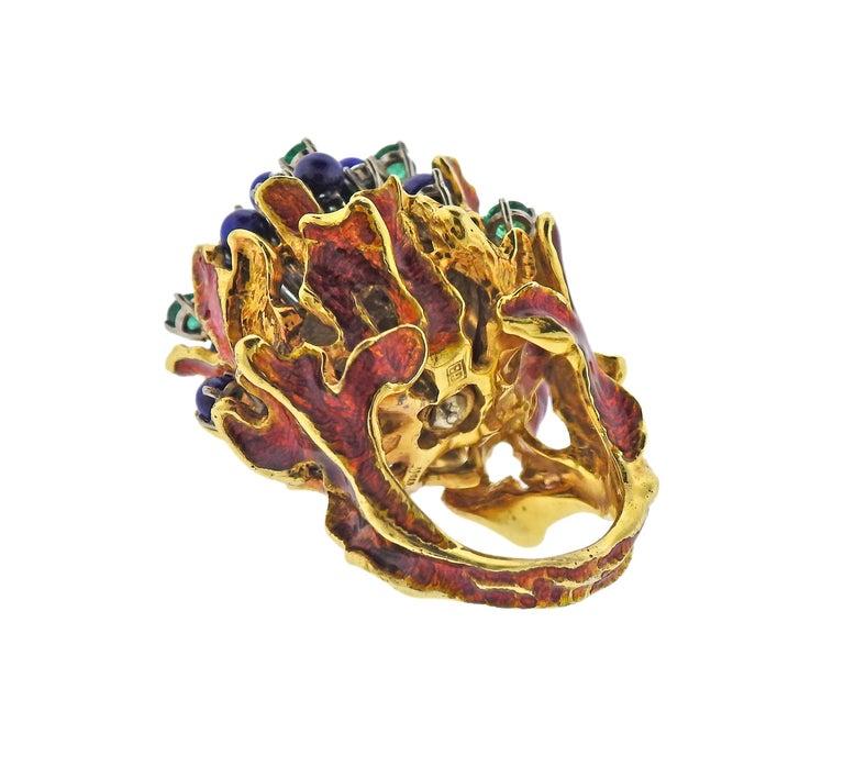 Women's 1970s Freeform Lapis Emerald Diamond Enamel Gold Ring For Sale