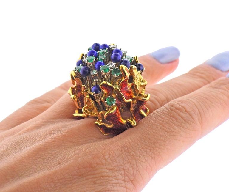 1970s Freeform Lapis Emerald Diamond Enamel Gold Ring For Sale 1