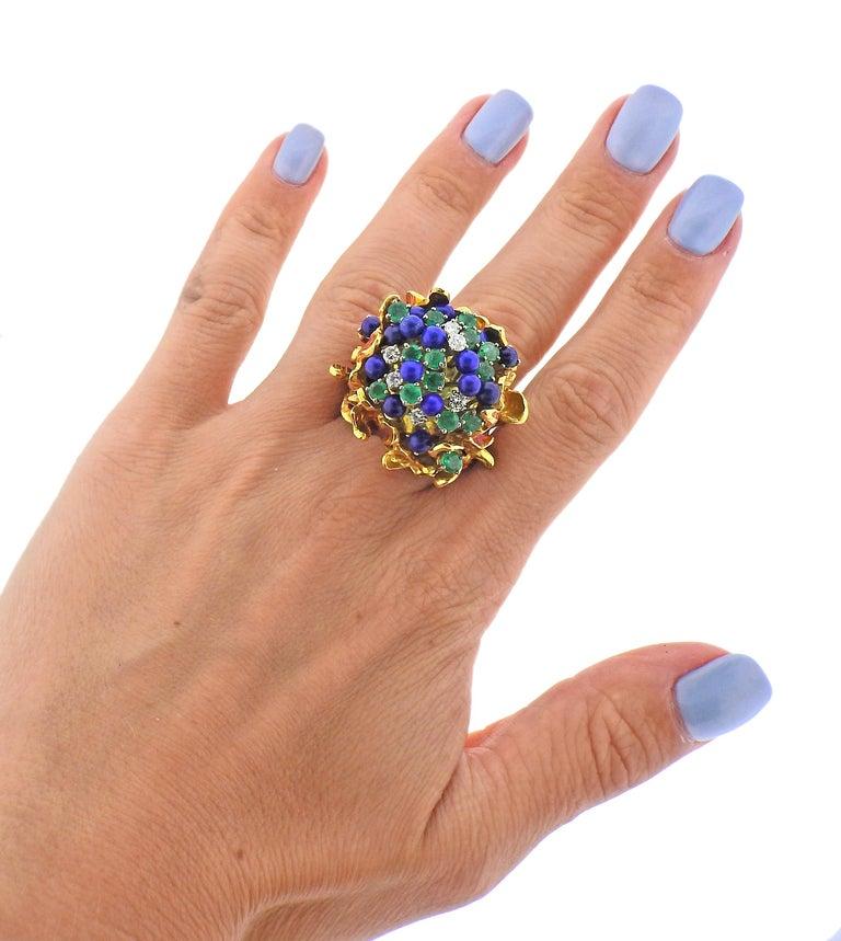 1970s Freeform Lapis Emerald Diamond Enamel Gold Ring For Sale 2