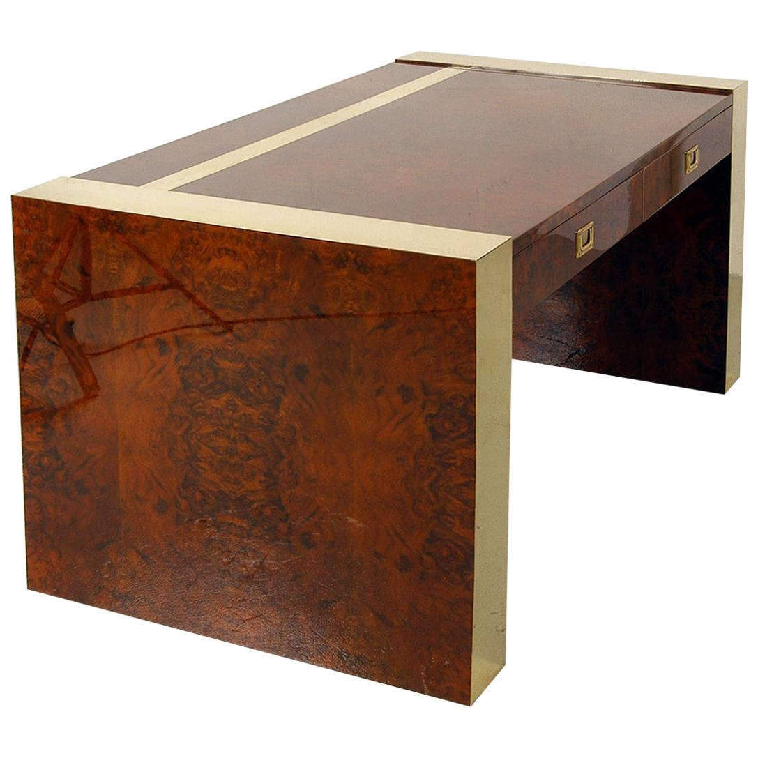1970s Freestanding Brass & Lacquered Burr Walnut Wood Desk by Jean Claude Mahey