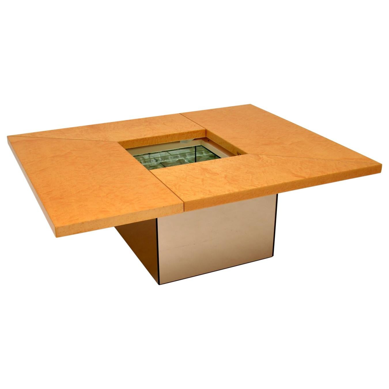 1970s French Bird's-Eye Maple Coffee Table by Paul Michel
