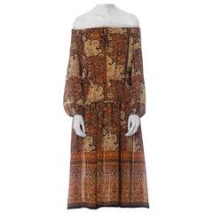 1970S Rayon French Exotic Persian Printed Boho Dress