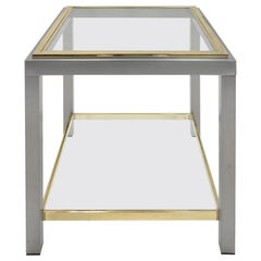 1970s French Brass and Chrome Two-Tiered Side Table by Romeo Rega