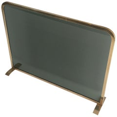 1970s French Brass and Smoked Glass Fire Screen