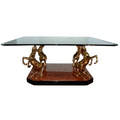 1970s French Brass Stallion Cocktail or Coffee Table