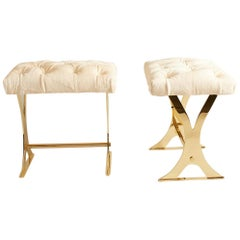 1970s French Brass Stools with Ivory Calf