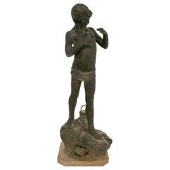 1970s French Bronze Boy Figure Statue