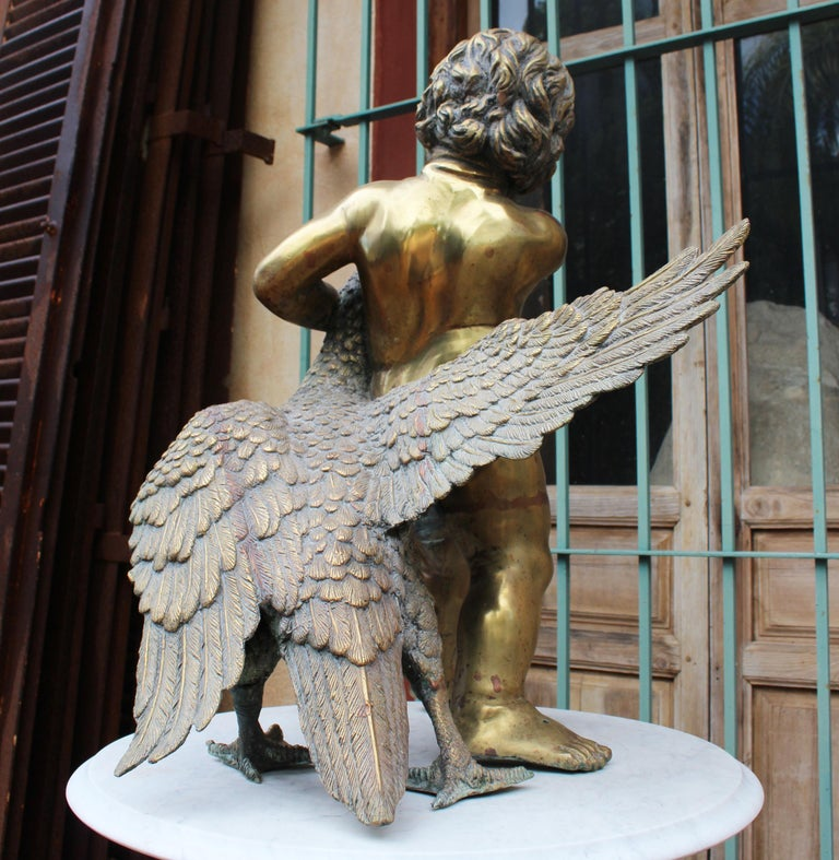 1970s French Bronze Fountain Sculpture of Cherub with Duck For Sale 8
