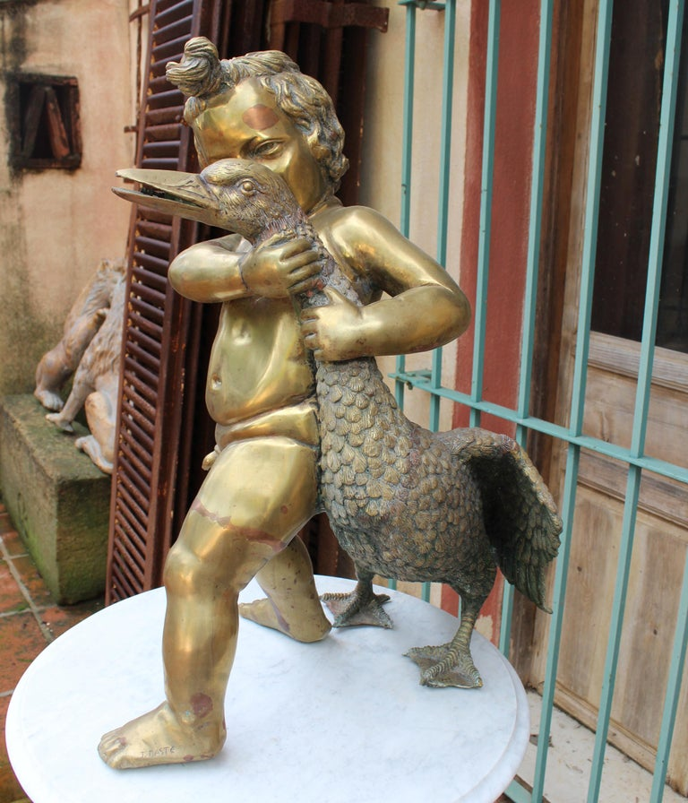 1970s French Bronze Fountain Sculpture of Cherub with Duck For Sale 9