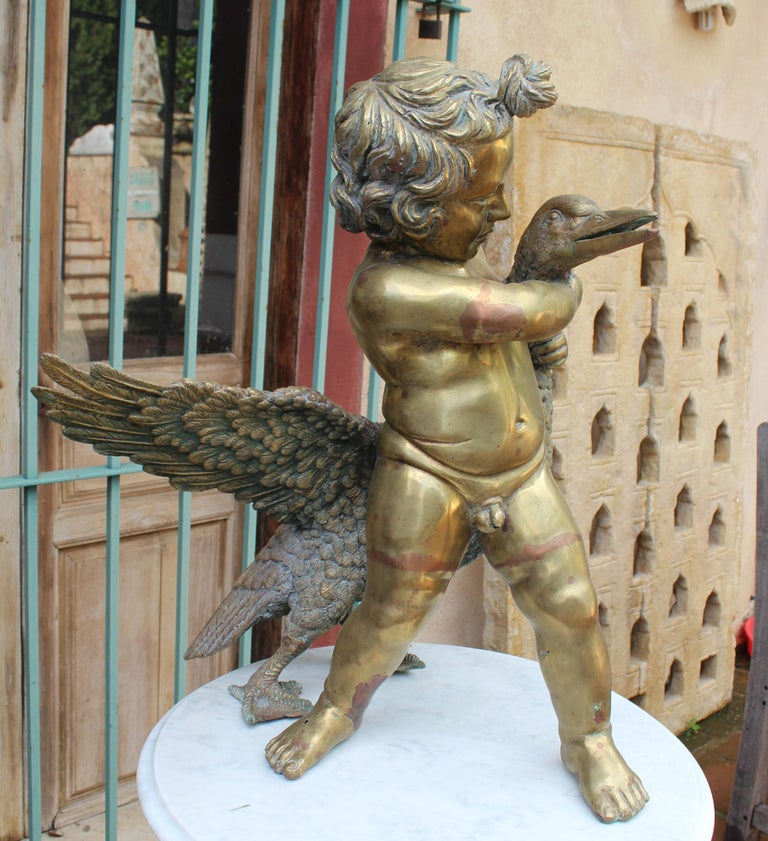 1970s French Bronze Fountain Sculpture of Cherub with Duck For Sale 10