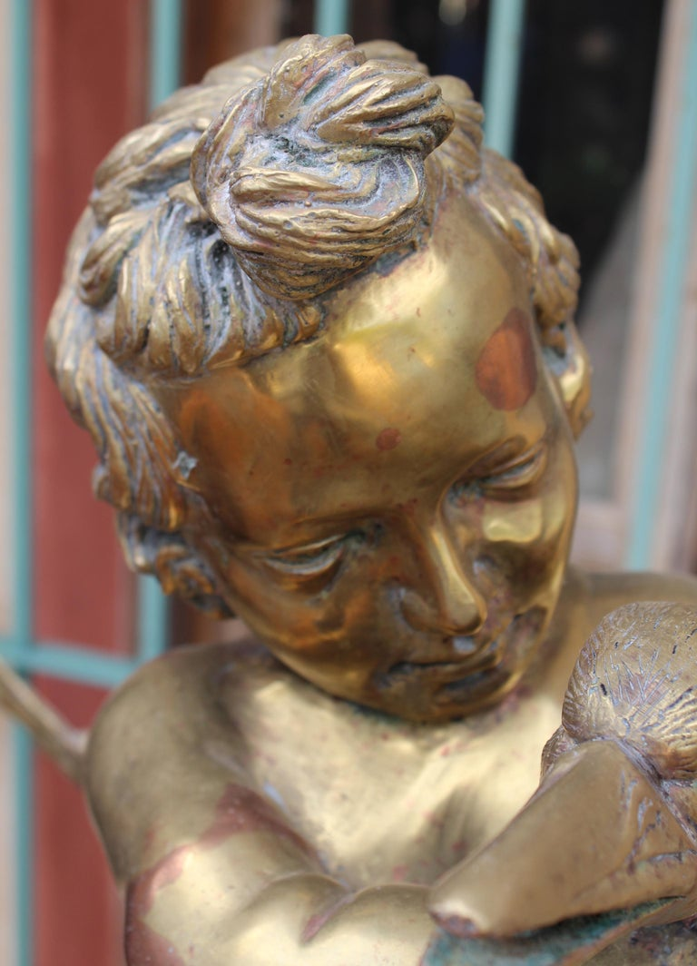 1970s French Bronze Fountain Sculpture of Cherub with Duck For Sale 12
