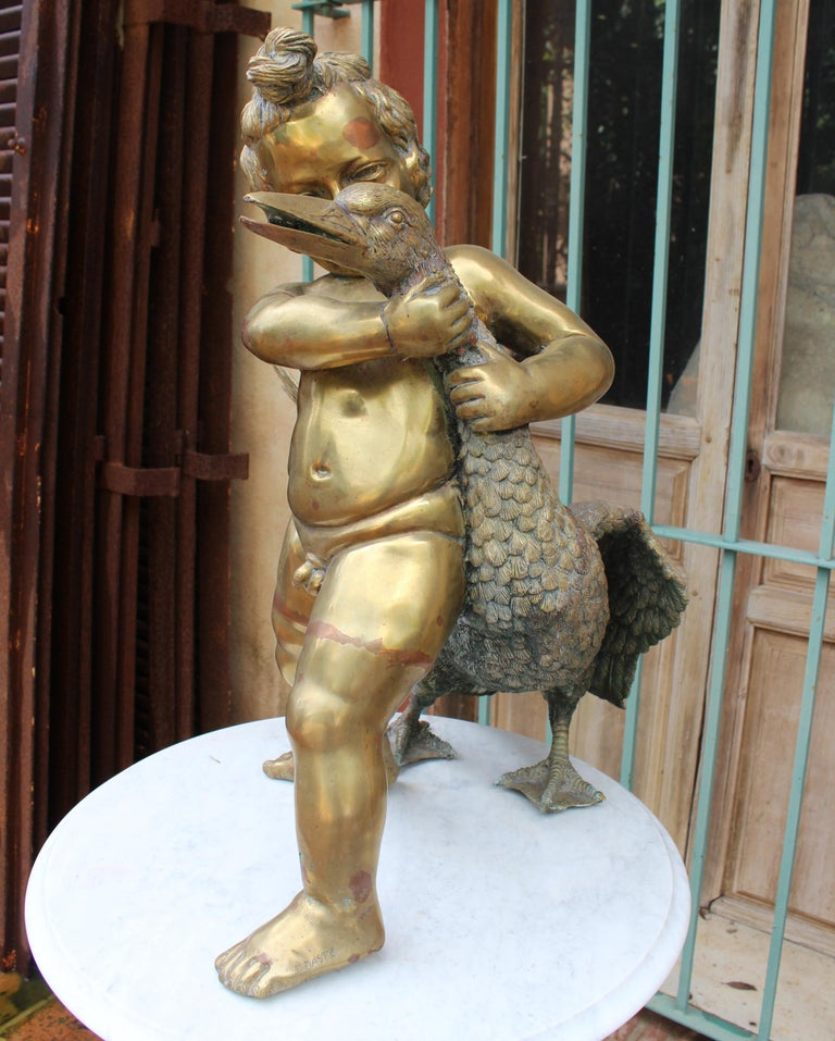 1970s French Bronze Fountain Sculpture of Cherub with Duck In Good Condition For Sale In Malaga, ES