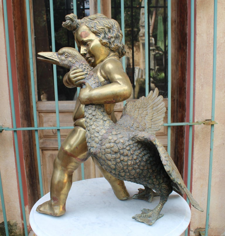 1970s French Bronze Fountain Sculpture of Cherub with Duck For Sale 1