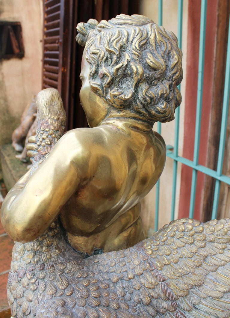 1970s French Bronze Fountain Sculpture of Cherub with Duck For Sale 3