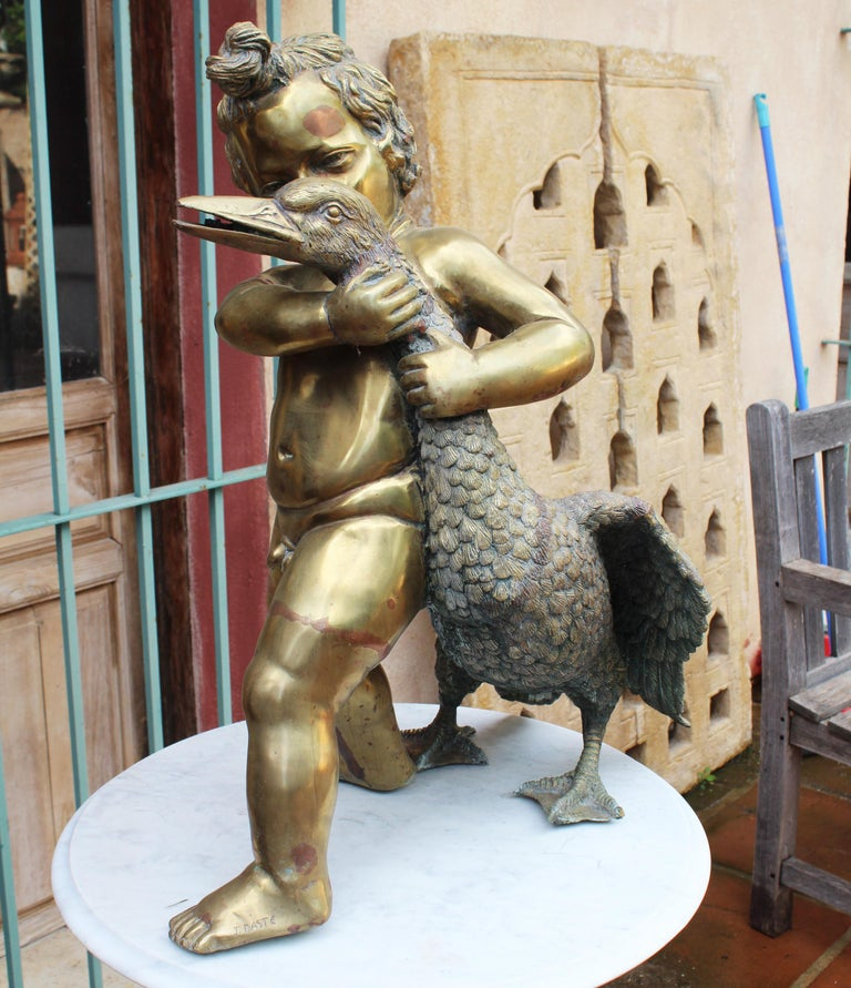 1970s French Bronze Fountain Sculpture of Cherub with Duck For Sale 5
