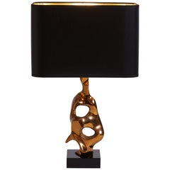 1970s French Bronze Sculpture Table Desk Lamp by Frist