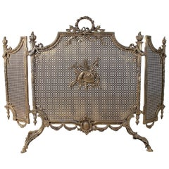 1970s French Bronze Three Panel Fireplace Screen w/ Baroque Ornamentation