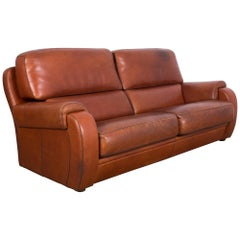 1970s French Brown Leather Sofa