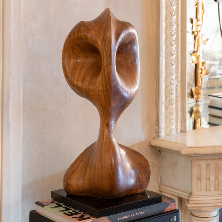 Carved wood abstract sculpture, original black marble base, perfect vintage condition and patina, unknown signed, France circa 1970s.