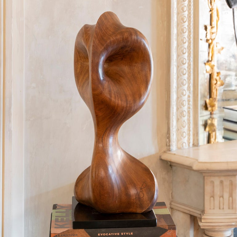 Modern 1970s French Carved Wood Abstract Sculpture, Black Marble Base For Sale