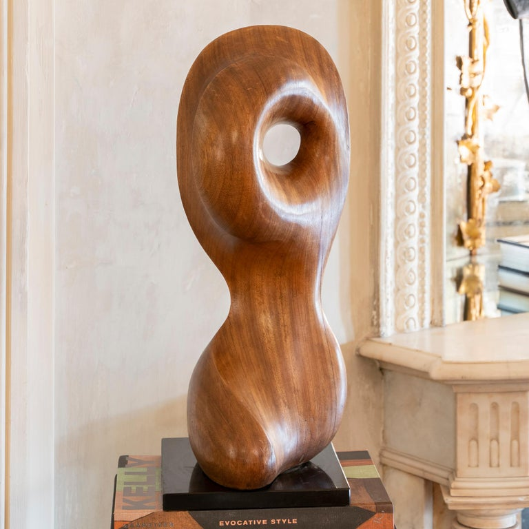 1970s French Carved Wood Abstract Sculpture, Black Marble Base In Good Condition For Sale In Firenze, IT