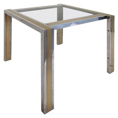 1970s, French Chrome Side Table with Brass Inlay