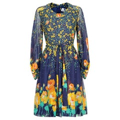 1970s French Couture Navy Rose Print Dress