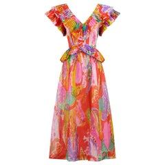 1970s French Couture Pleated Organza Dress with Ruffle Neckline