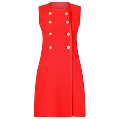 1970s French Couture Red Pinafore Dress